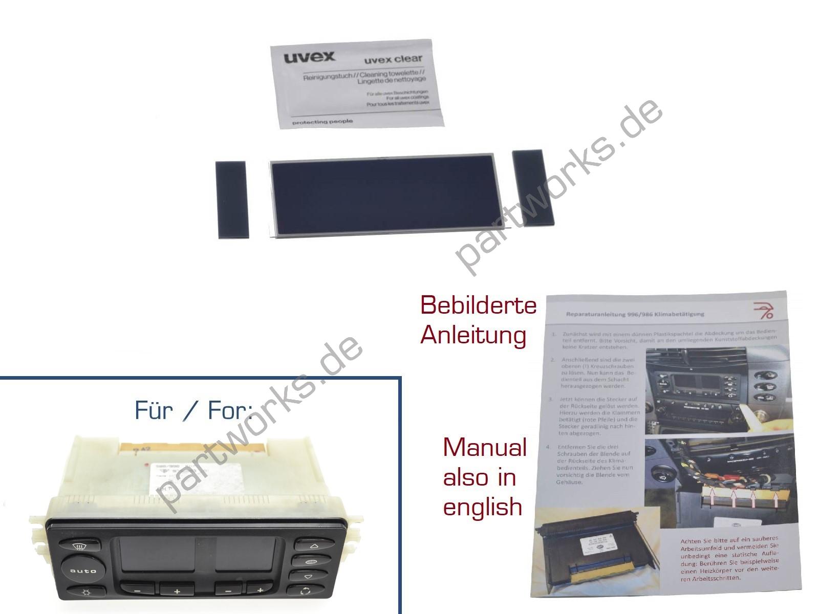 Display für Porsche Boxster 986 S Klimabedienteil V2 + Anleitung