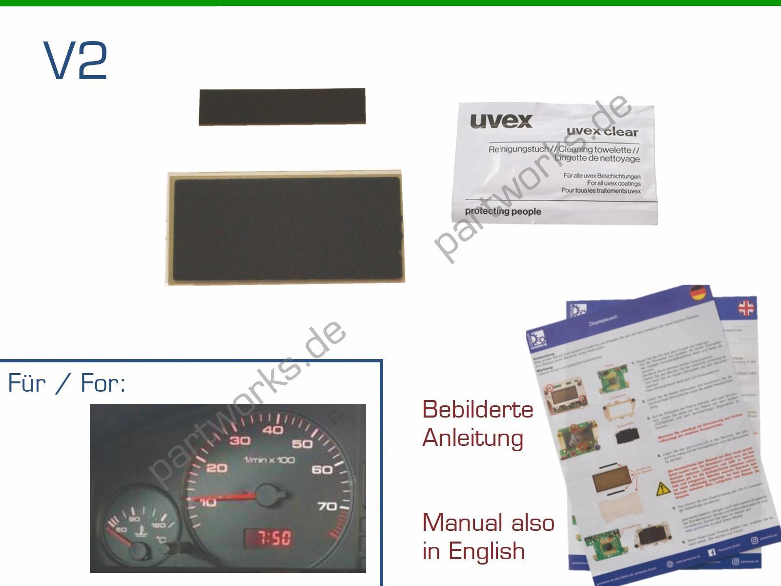 Display für Audi 80/100/200/V8 Digitaluhr/Uhr Reparatur LCD V2