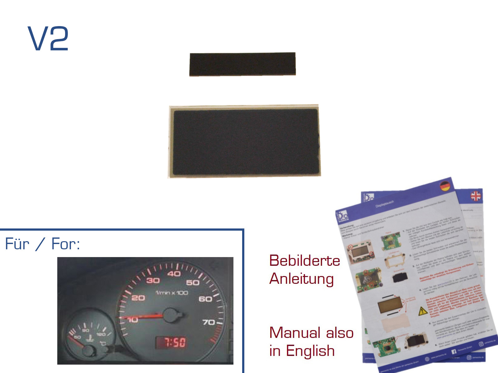 Display for Audi 80/100/200 / V8 Digital Clock / Watch Repair LCD V2