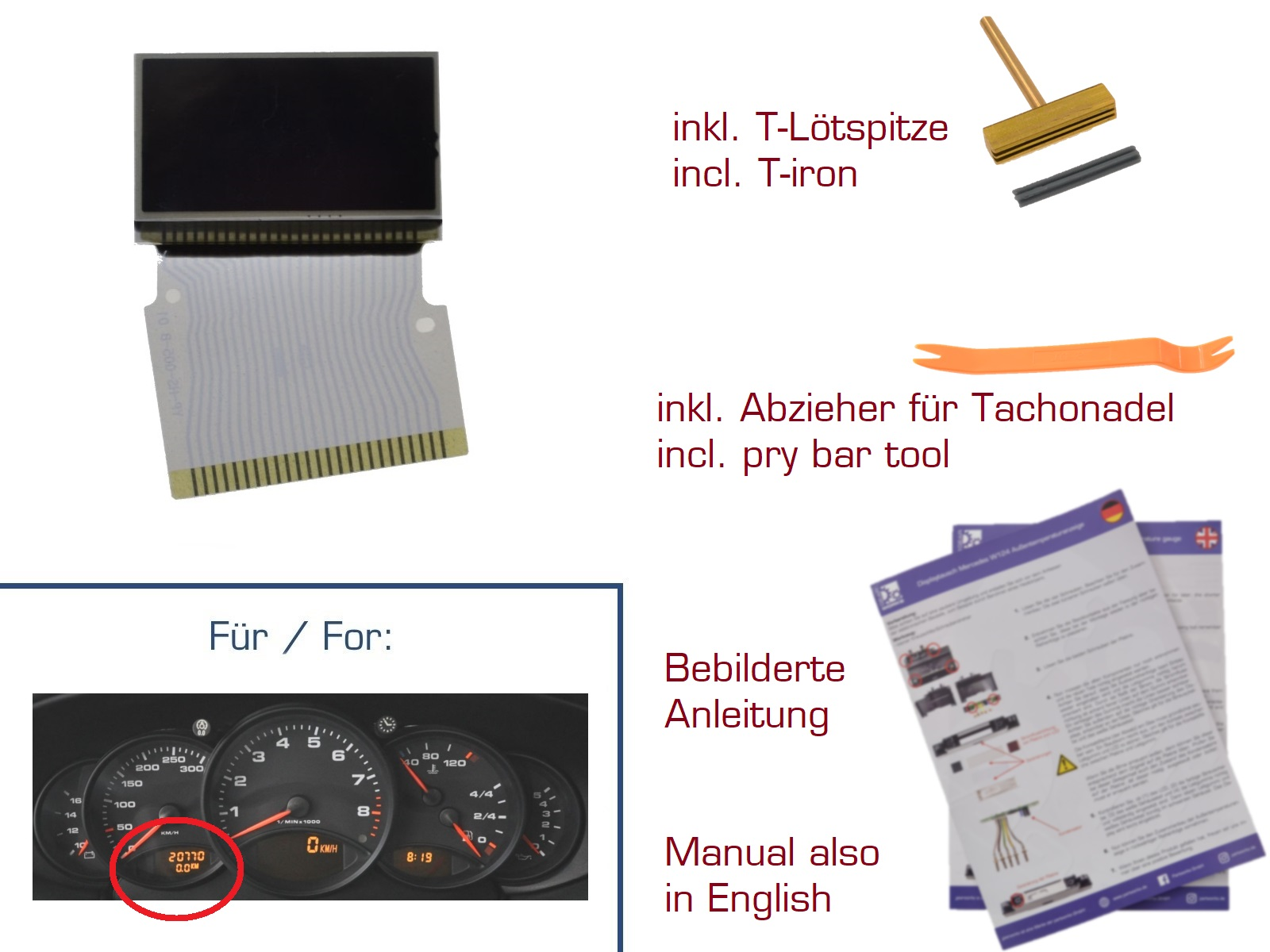 Display für Porsche 911/996 Boxster/986 Kombiinstrument LINKS