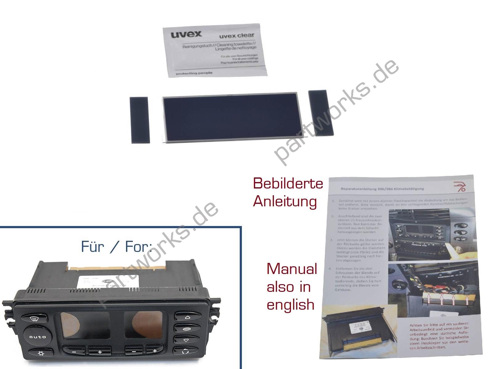 Display für Porsche Boxster 986 Klimabedienteil V1 + Anleitung