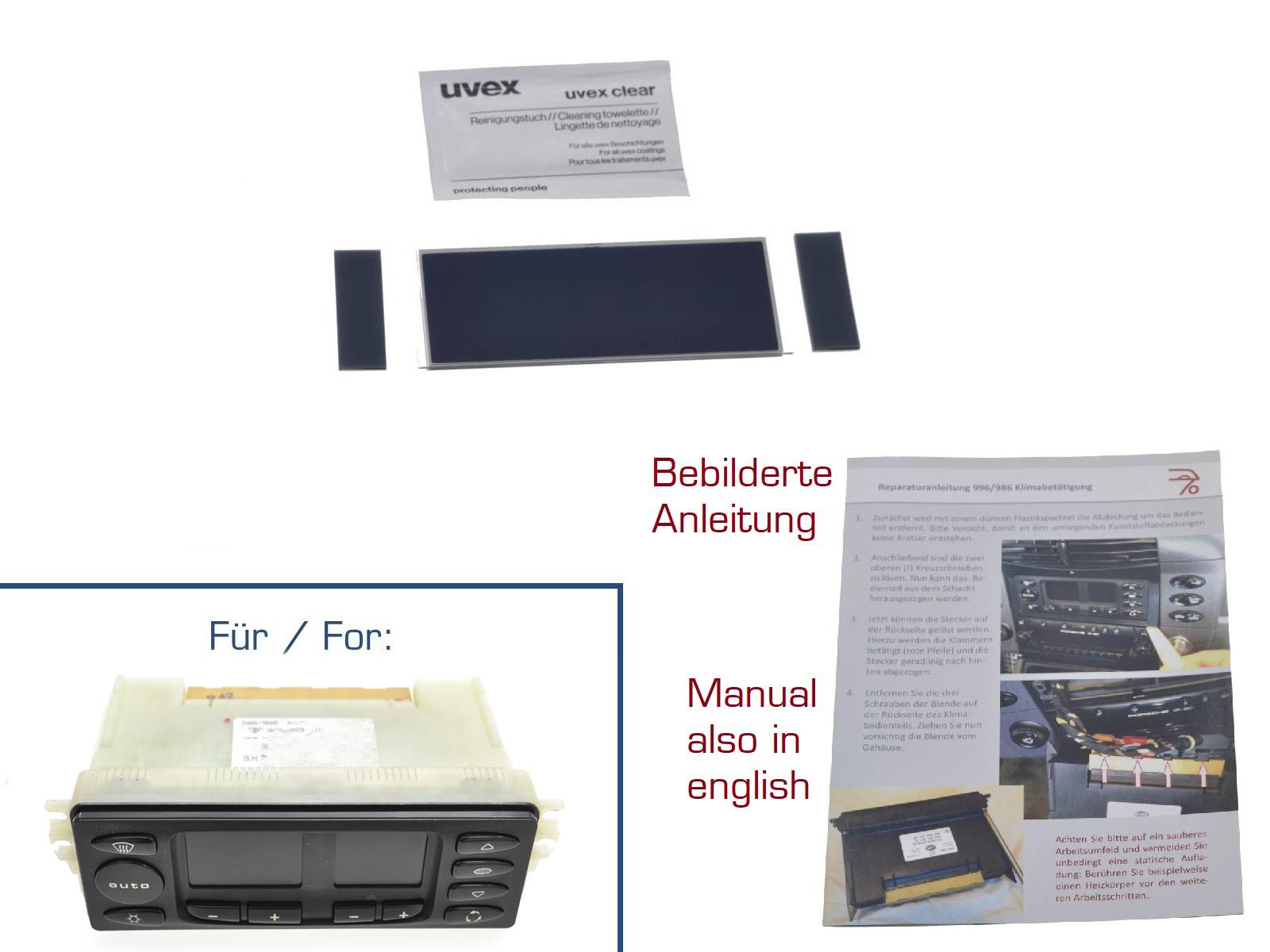 Display für Porsche Boxster 986 Klimabedienteil V2 + Anleitung