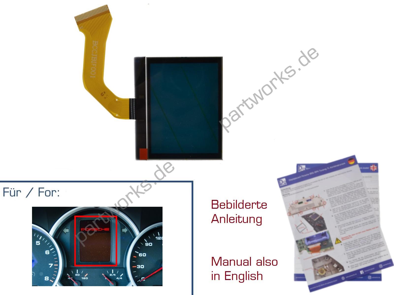 Display für Porsche Cayenne/955/9PA Kombiinstrument ROT