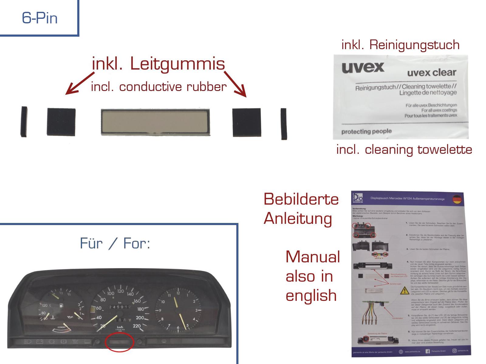 Reparatur Display für Mercedes 190/190E/W201 Außentemperaturanzeige