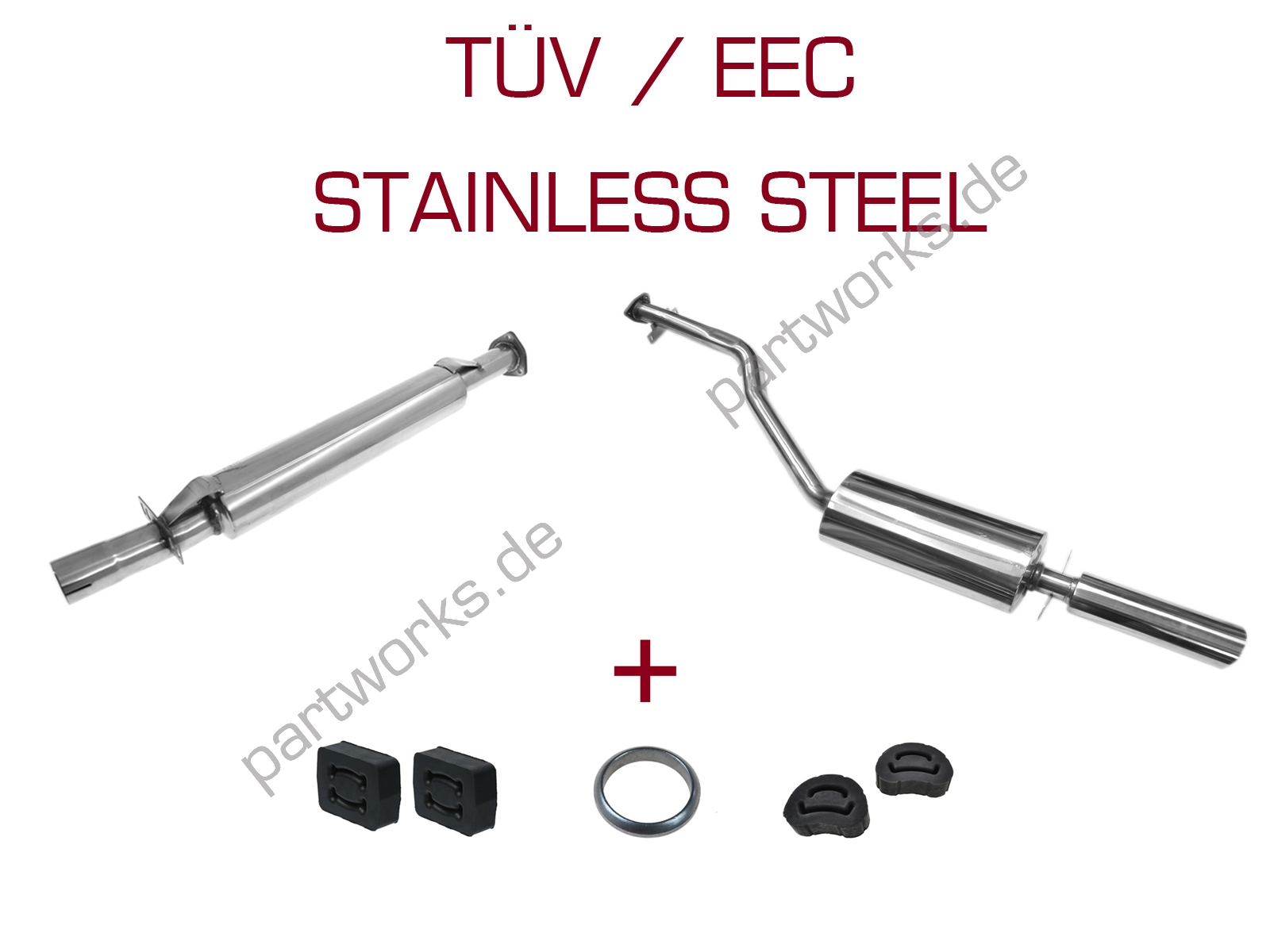 Sport Exhaust Set For Porsche 924s 944 2 5 With Accessories V2a